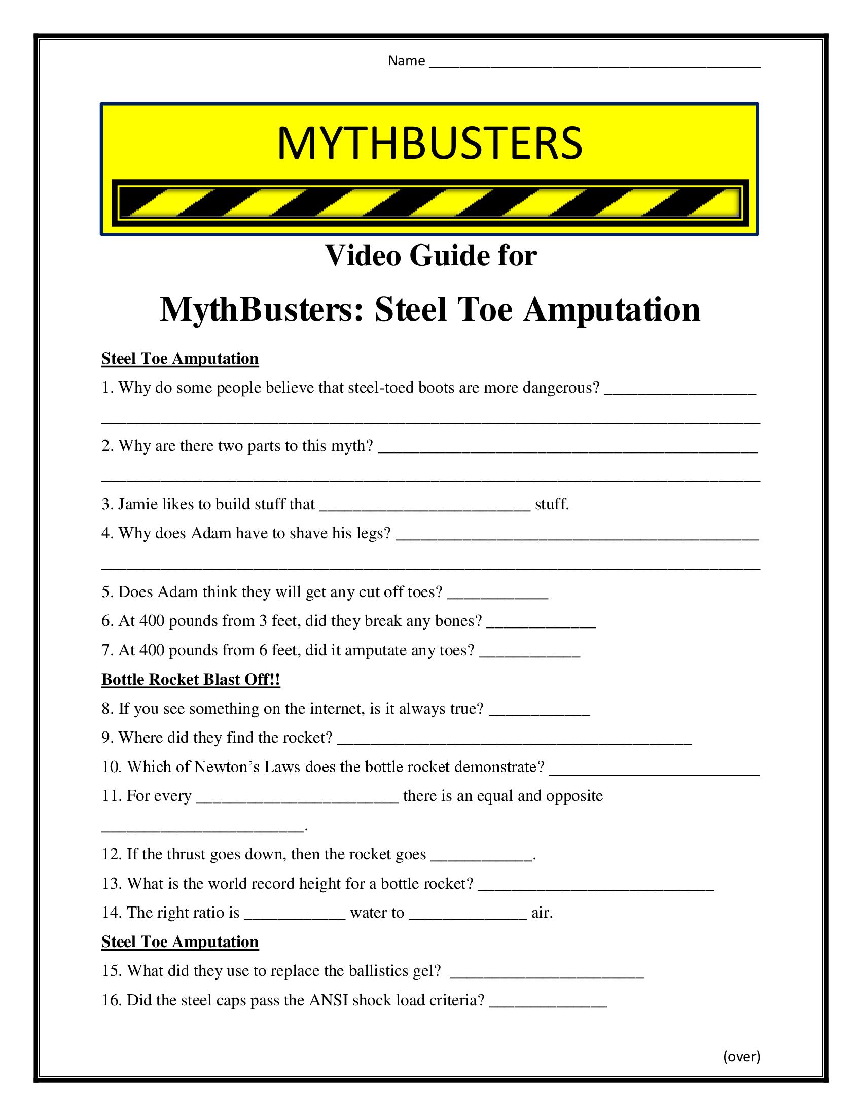 Mythbusters Steel Toe Amputation Worksheet Season 4