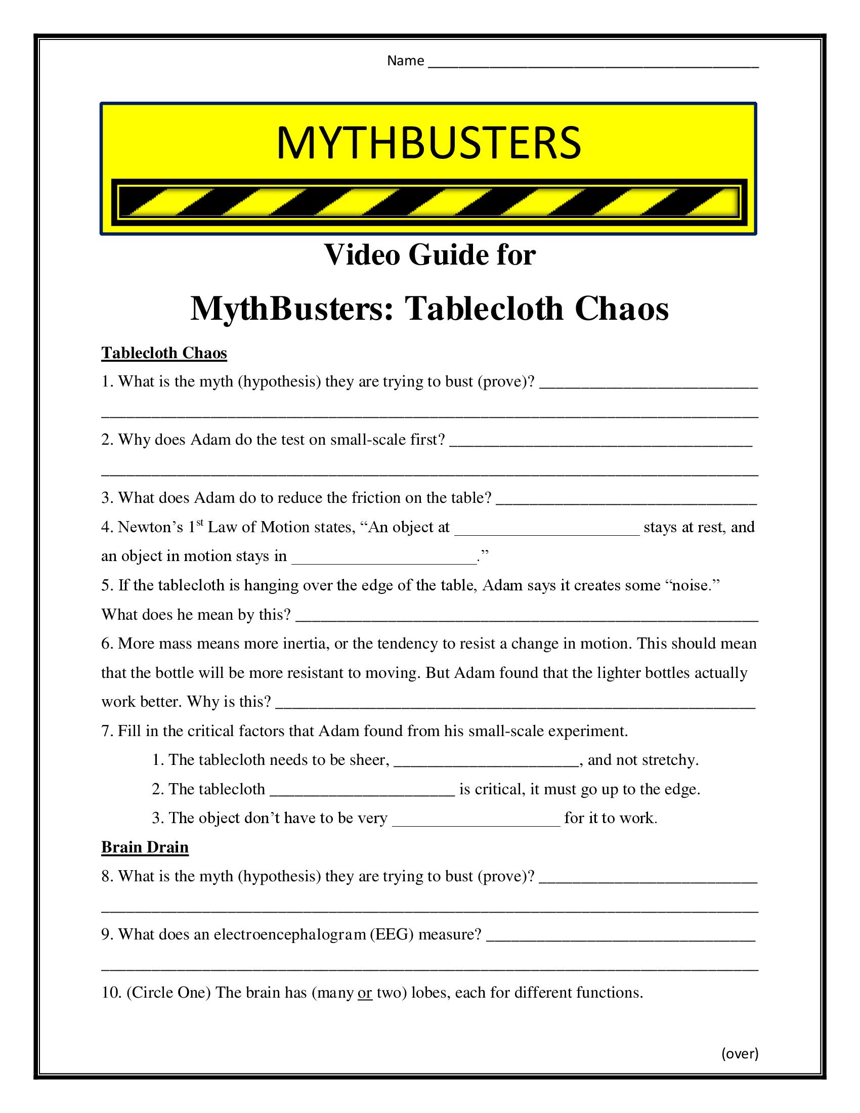 Mythbusters Table Cloth Chaos Worksheet Season 7
