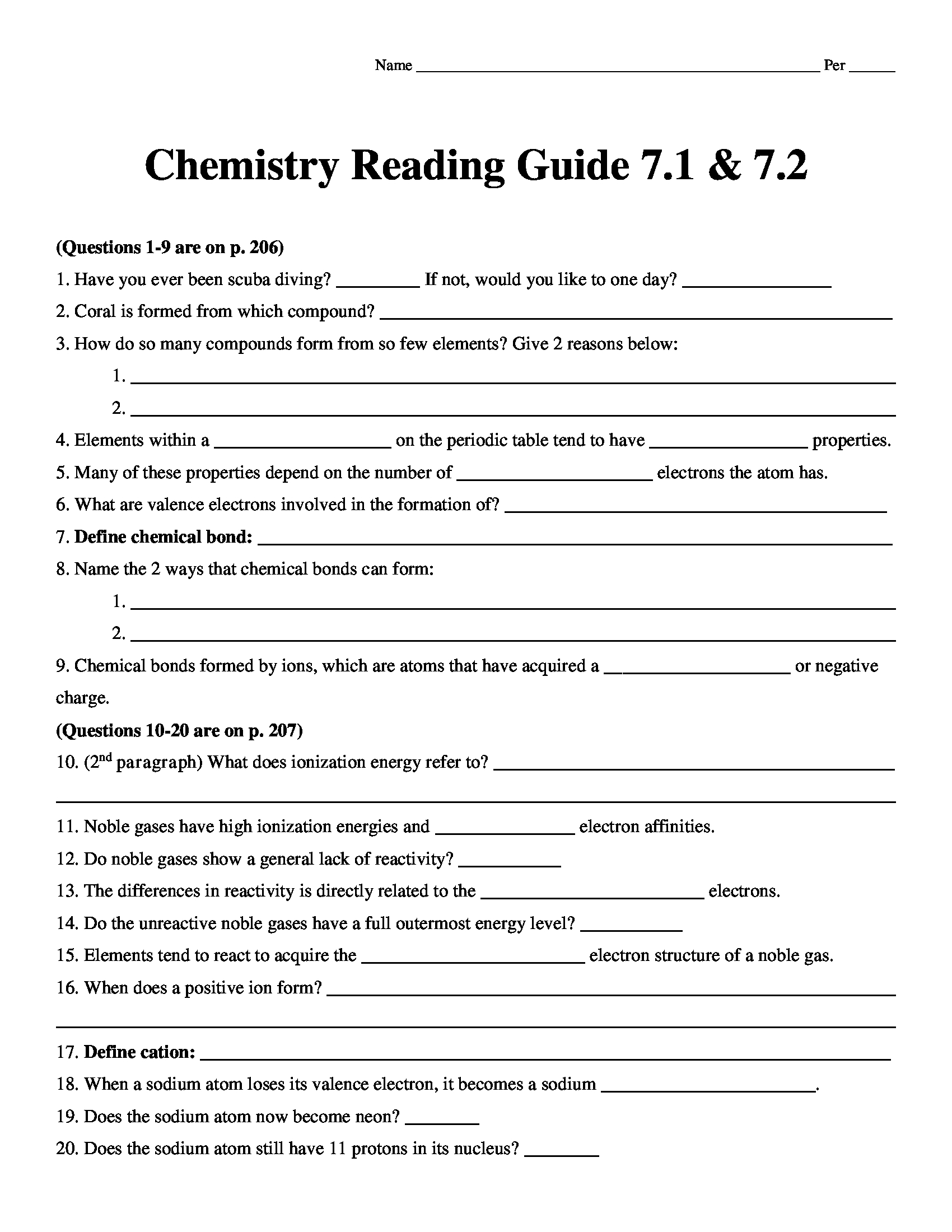 Chemistry Matter And Change Reading Guide