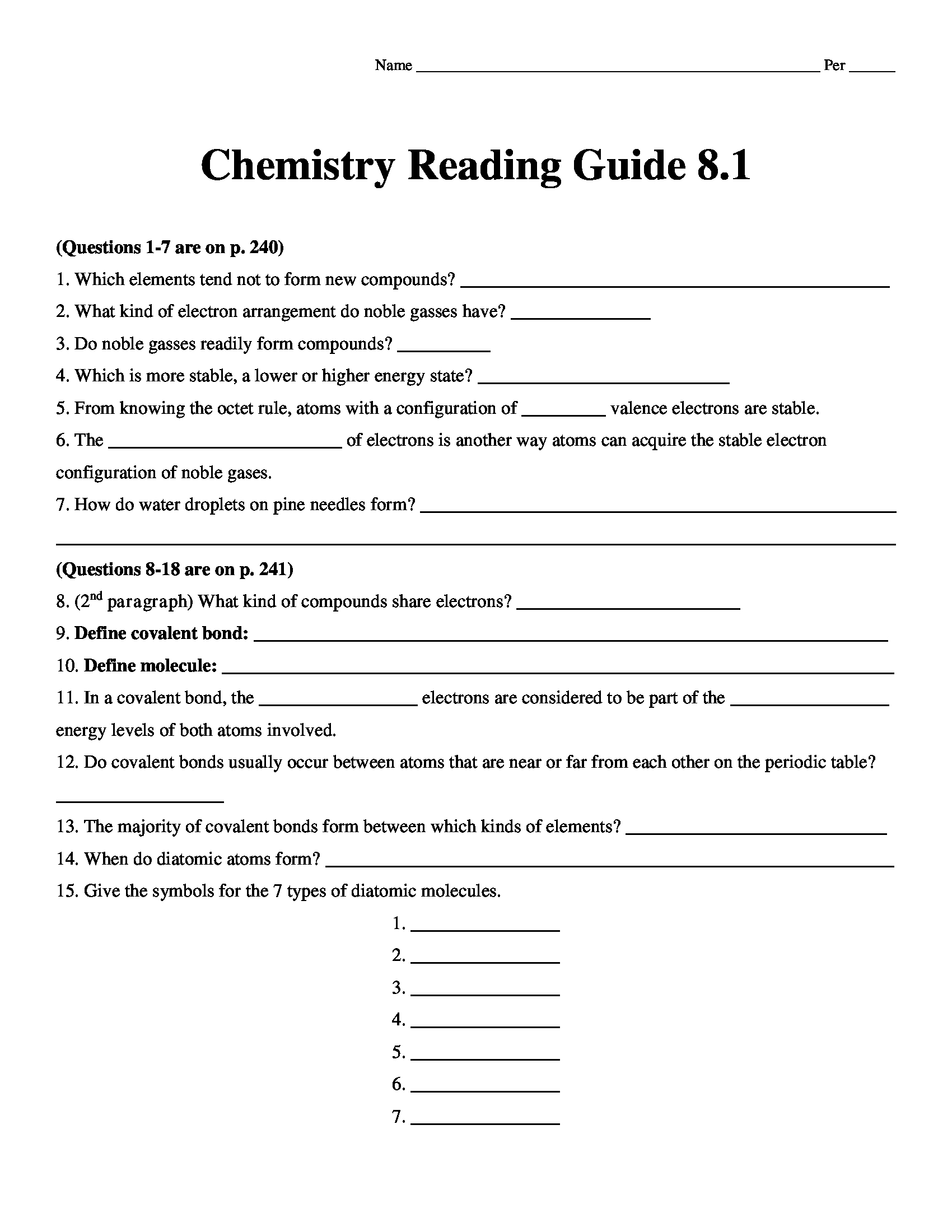 Chemistry Matter And Change Reading Guide Worksheet