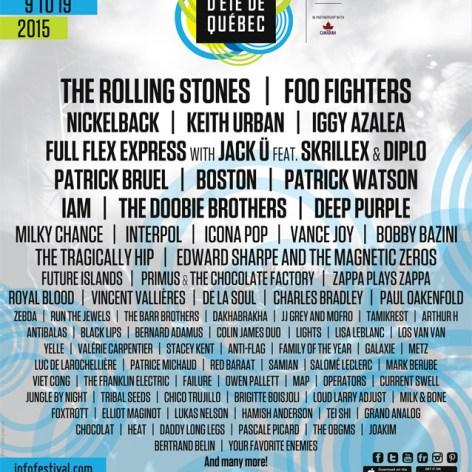 Festival D´Été De Québec Announces 2015 Line-Up