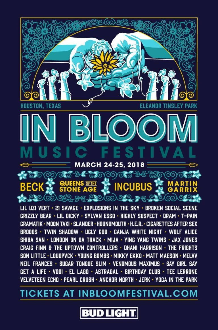 in bloom music festival houston 2018 poster admat lineup