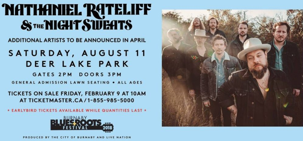 Burnaby Blues + Roots Festival ft. Nathaniel Rateliff & The Night Sweats + more to be announced at Deer Lake Park