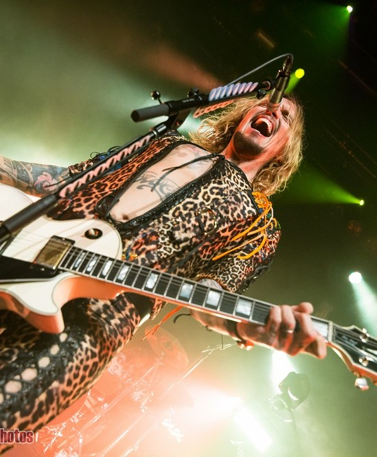 Justin Hakwins of The Darkness performing at The Vogue Theatre in Vancouver, Bc on April 4th 2018
