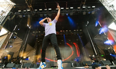 "Rapper Logic performing during his ""Everybody"" tour at the PNE Amphitheatre in Vancouver, BC on July 15th, 2018"