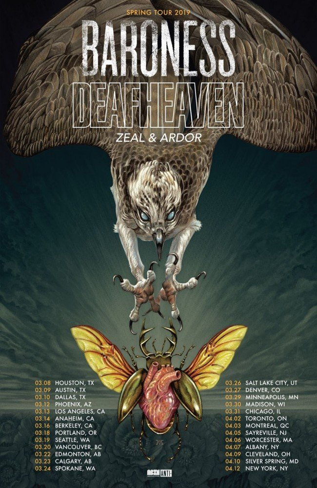 Baroness + Deafheaven + Zeal & Ardor 2019 tour poster