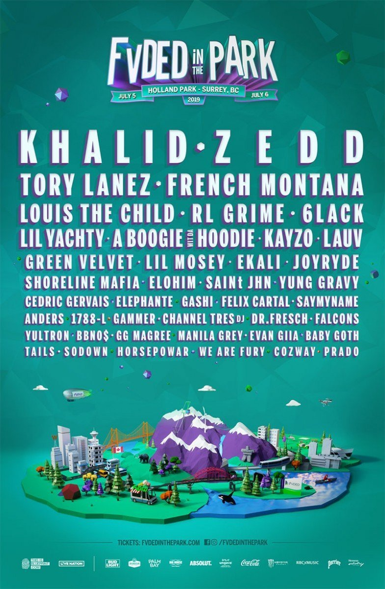 Fvded In The Park 2019 poster lineup admat banner