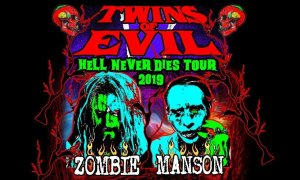 """Twins Of Evil: Hell Never Dies Tour"" ft. Rob Zombie + Marilyn Manson tour poster promo picture photo 2019"