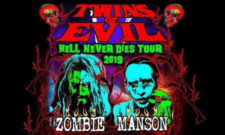 """""""Twins Of Evil: Hell Never Dies Tour"""" ft. Rob Zombie + Marilyn Manson tour poster promo picture photo 2019"""