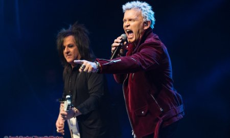 English musician Billy Idol and American guitarist Steve Stevens performing at The Vogue Theatre in Vancouver, BC March 3rd, 2019