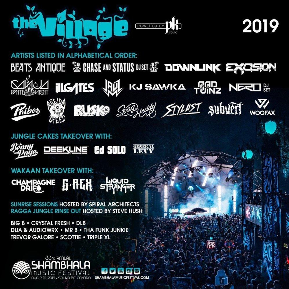 The Village stage lineup - Shambhala Music Festival 2019 poster admat