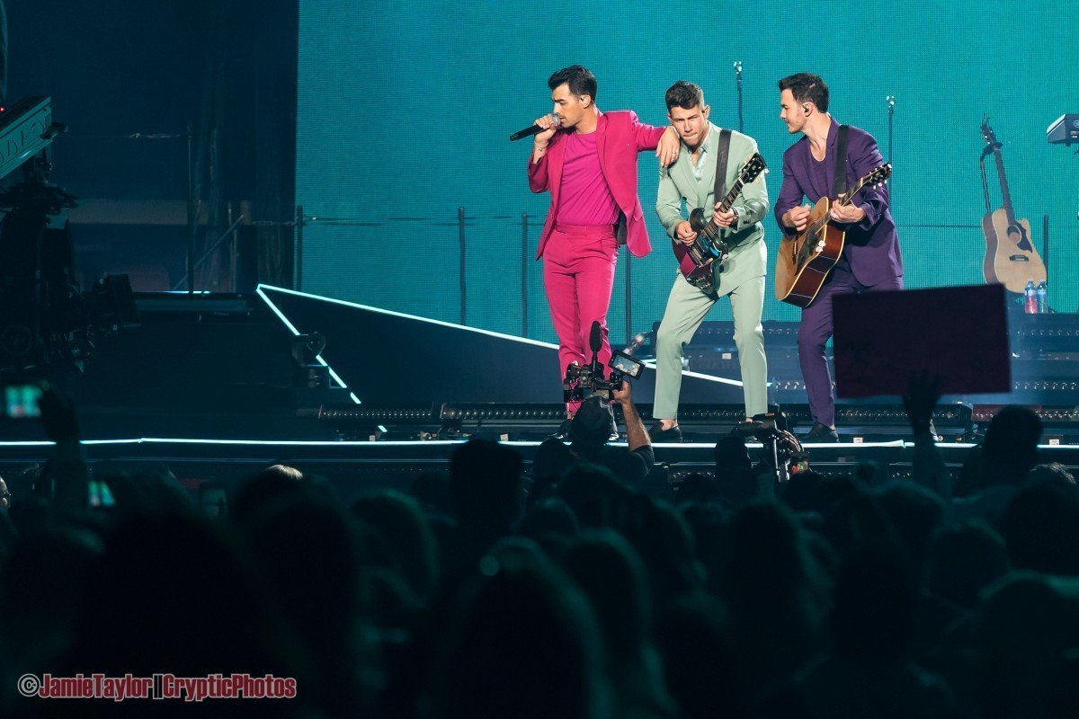 """Photo gallery of American all-brother pop rock band Jonas Brothers performing at Rogers Arena as part of their """"Happiness Begins Tour"""" in Vancouver, BC on October 11th, 2019"""