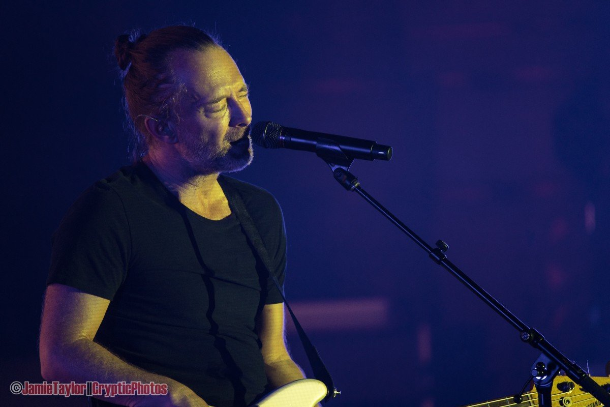 English musician Thom Yorke performing at the Orpheum Theatre in Vancouver, BC on October 21st, 2019.