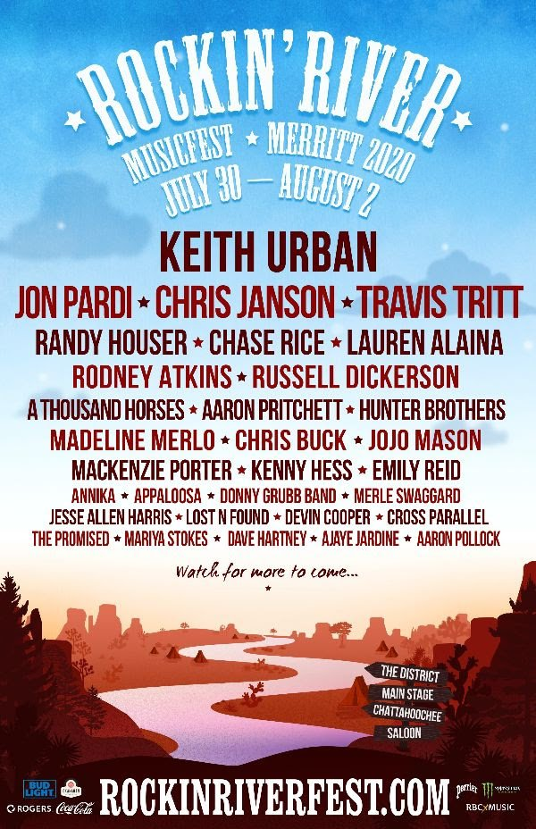 Rockin River Music Festival 2020 lineup poster admat