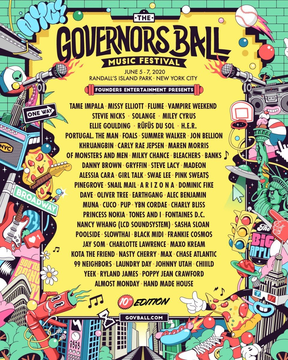 The Governors Ball Music Festival 2020 @ Randall's Island Park (New York, NY) lineup poster