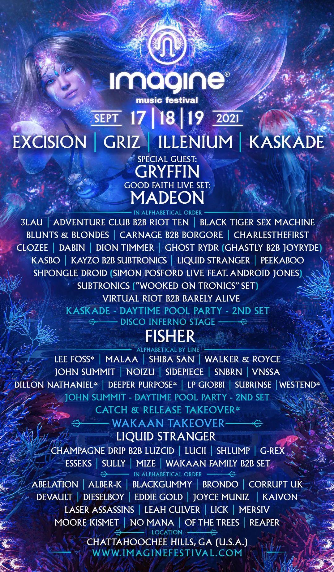 Imagine music festival 2021 lineup poster