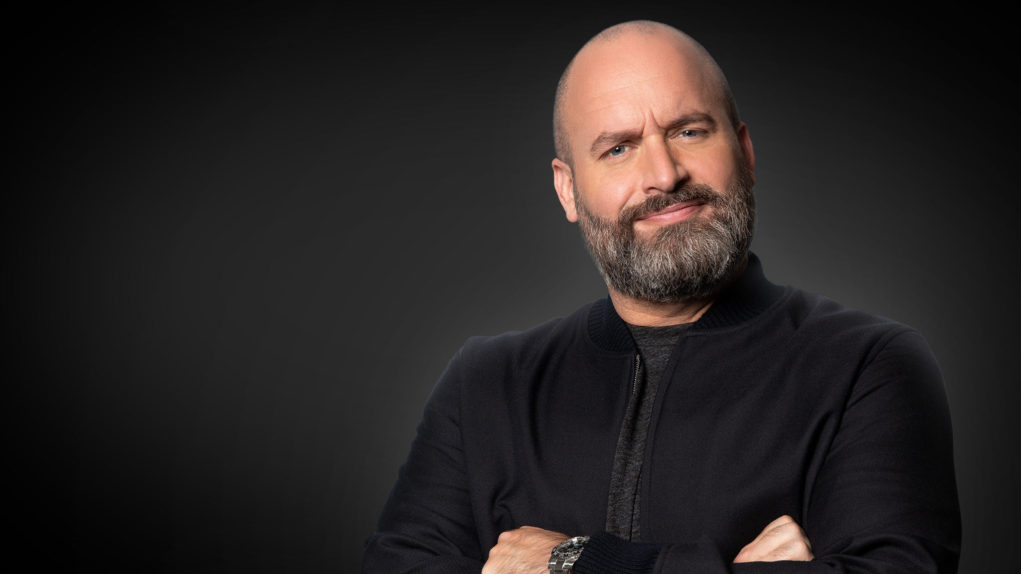 """Tom Segura 2021 promotional image for """"I'm Coming Everywhere"""" stand-up comedy tour"""