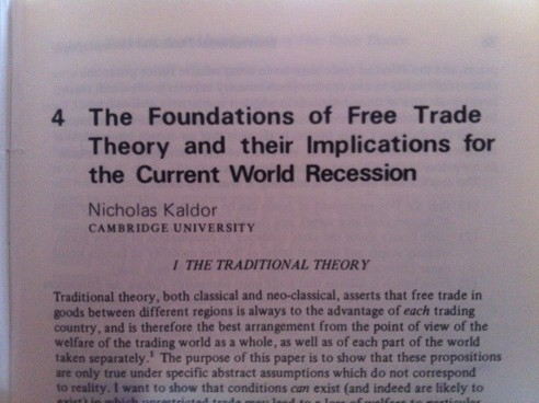 Nicholas Kaldor On Free Trade