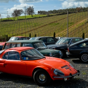 """Parcheggio in collina per le auto d'epoca del """"garage del tempo"""""""