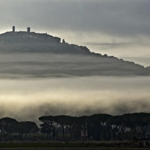 Nebbia sotto Montepescali, panorama
