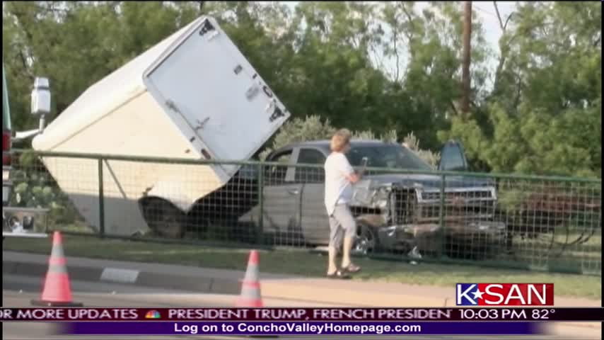 Truck Runs Through Fence on Armstrong_82108577