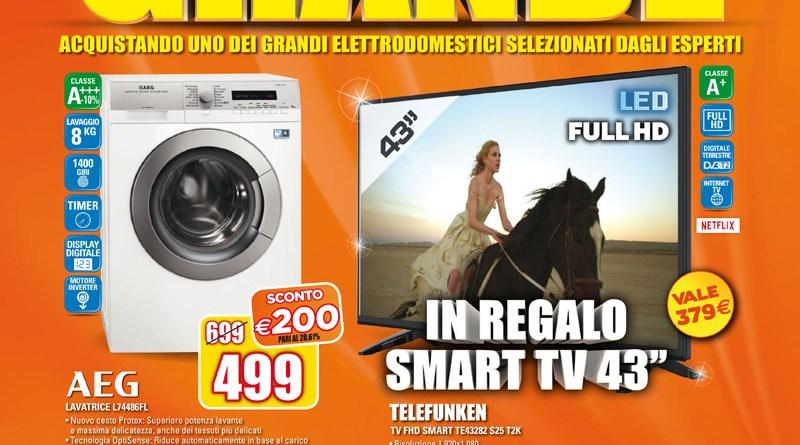 Grandi regali da Expert. Acquistando infatti uno degli elettrodomestici del volantino, subito in regalo un fantastico smart tv Telefunken 43 pollici!
