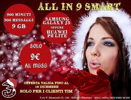 All in 9 Smart, 900 minuti, 900 messaggi, 9Gb, 9€ al mese