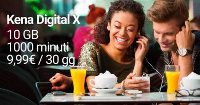 Kena Digital X, 1000 miniti e 10Gb al mese