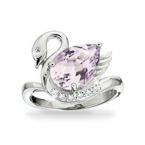 The Concorde Collection Grace And Beauty Swan Ring Pink