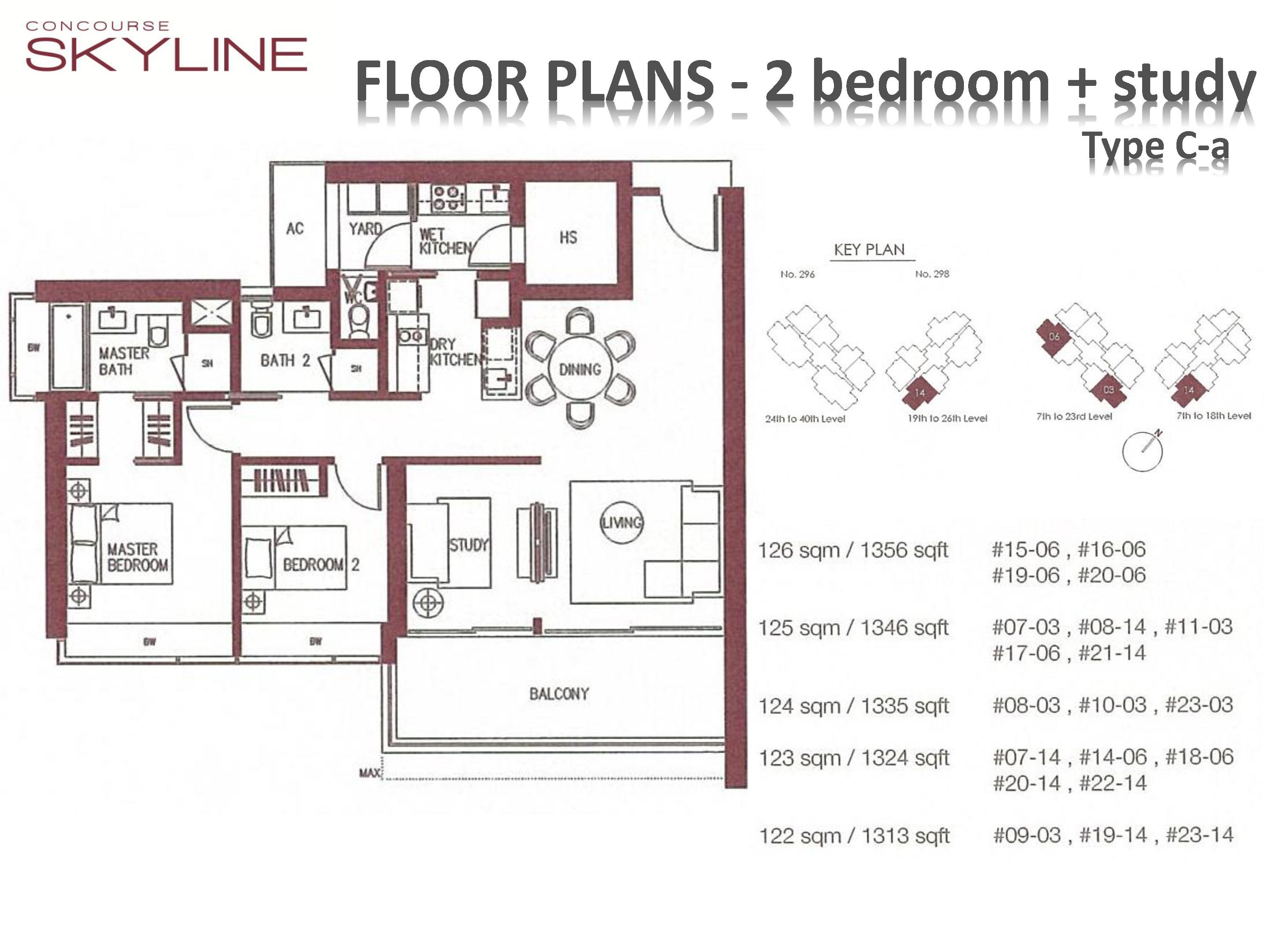 Concourse Skyline 2 Bedroom + Study Type C-a Floor Plans