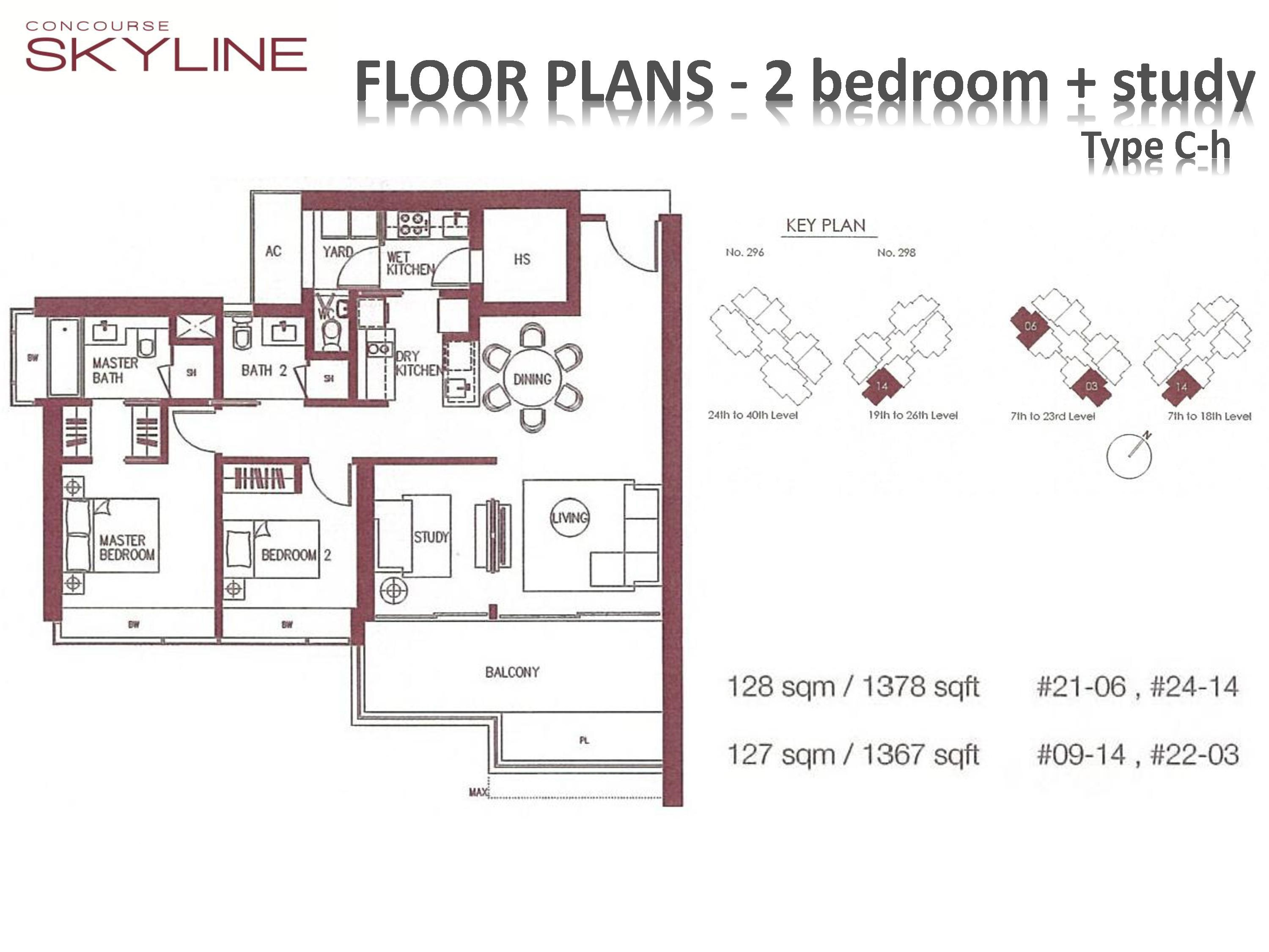 Concourse Skyline 2 Bedroom + Study Type C-h Floor Plans