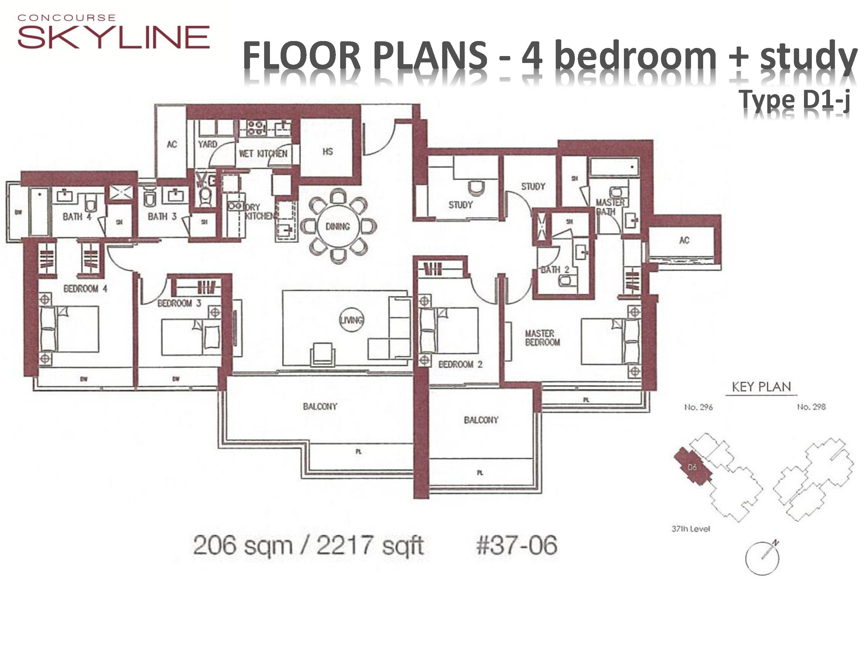 Concourse Skyline 4 Bedroom + Study Type D1-j Floor Plans