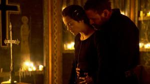 Michael Fassbender as titular character Macbeth, and Marion Cottilard as Lady Macbeth share an intimate embrace.