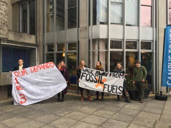 """UEA students in fossil fuel divestment """"die in"""" protest"""