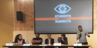 L - R- Malia Bouattia, Muqaddam Malik, Jon Sharp, David Nowell Smith, Moazzam Begg Photo- Jo Swo