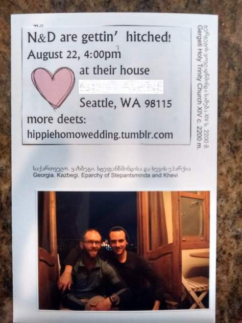 Yeah, we Holly Hobby'd the sh*t out of those invites on the back of postcards I bought at the church where we got engaged. And YES, our wedding website was a tumblr.