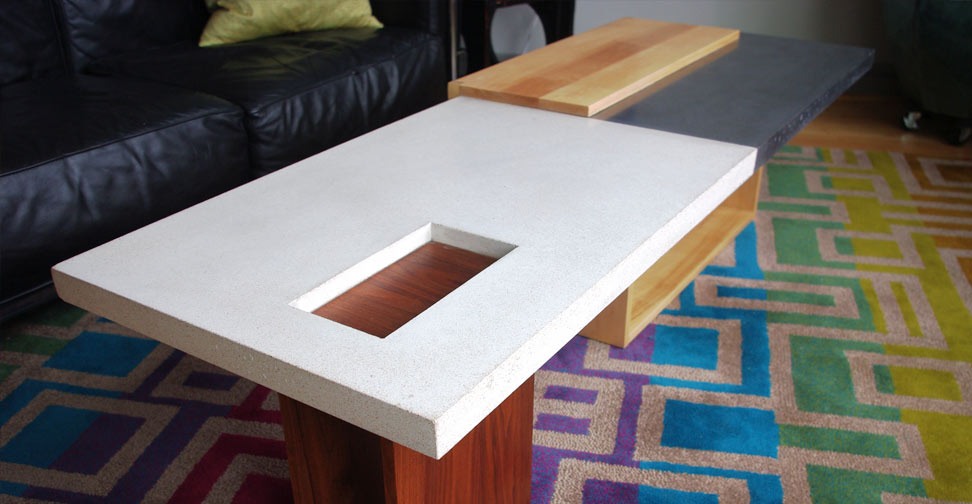 Cream And Wood Coffee Table