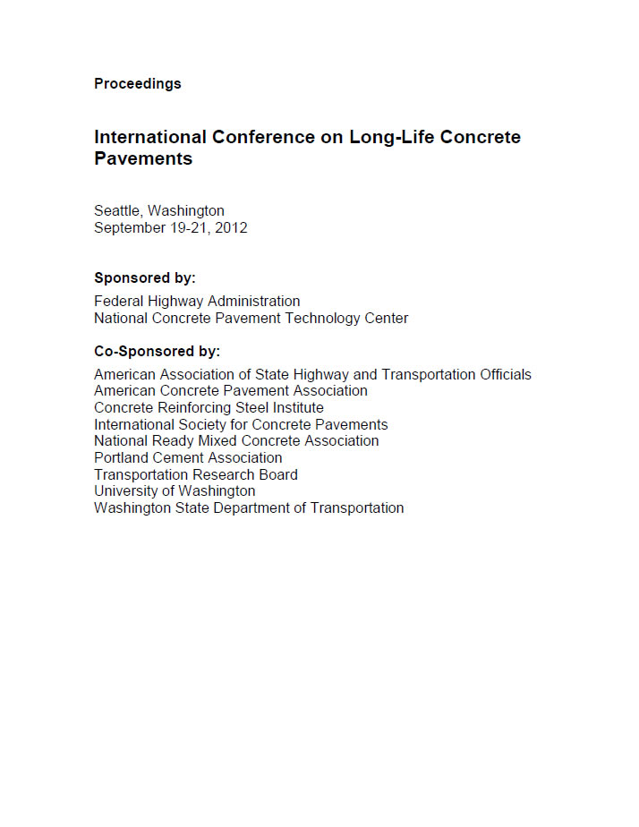 International Conference on Long-Life Concrete Pavements