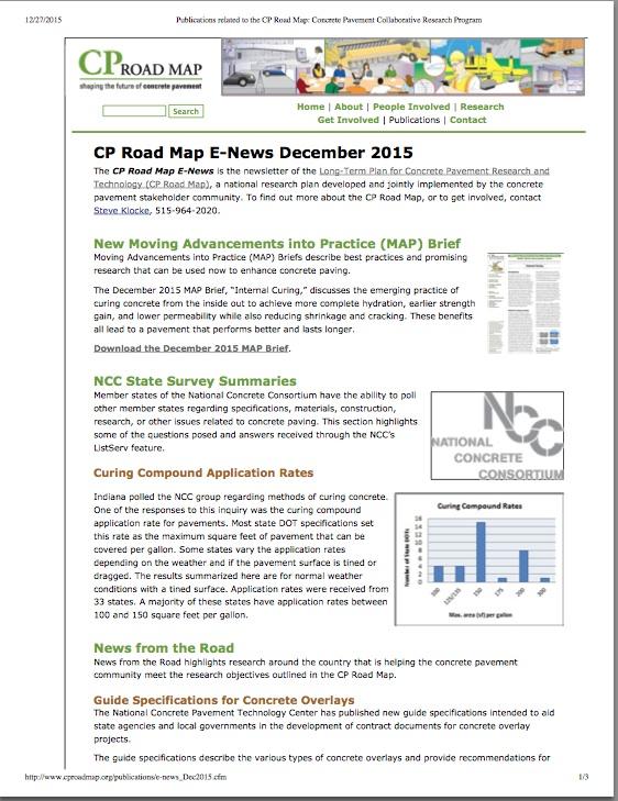 CP Road Map E-News, December 2015
