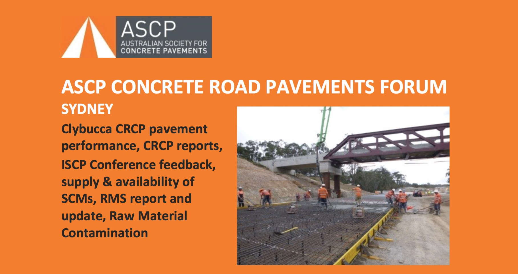SYDNEY Australia: ASCP Concrete Road Pavements Forum to be Held Monday, October 17