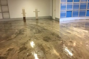 A polyurethane coating on a concrete floor