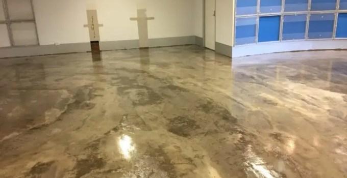 A polyurethane coating on a concrete floor