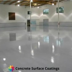 A high gloss epoxy floor coating in a factory