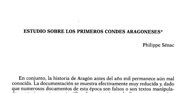 Estudio sobre los primeros condes aragoneses
