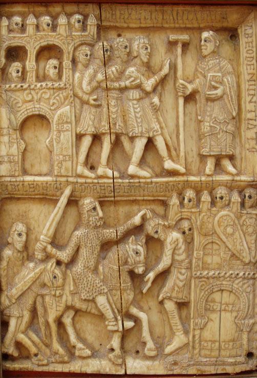 Fragmento de la arqueta de marfil de San Millán con la conquista de Amaya por Leovigildo