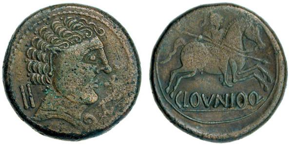 Moneda de bronce con la ceca Clounioq