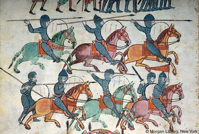 Caballeros lorigados andalusíes. Beato de las Huelgas (c. 1220)