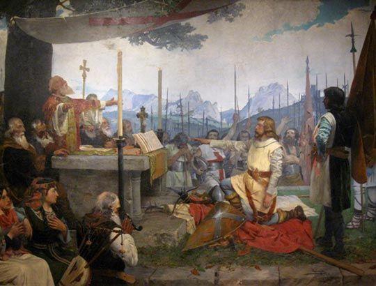 Jaun Zuria jura defender los fueros de Vizcaya - Anselmo Guinea - 1882