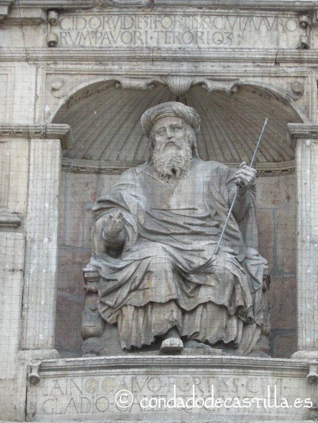 Laín Calvo. Estatua en el Arco de Santa María de Burgos