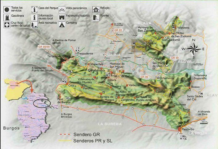 Mapa de senderos en la zona de Herrán
